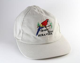 a909cd69c11 Vintage Low Profile Costa Rica Khaki Pura Vida Dad Hat    Embroidered  Parrot Strapback Hat    Woman s Sized Baseball Cap