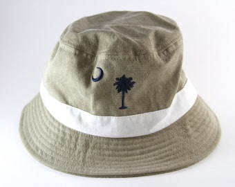 e9ea229988a South Carolina Beige Khaki Bucket Hat    The Palmetto State Vacation Cap    Roll  Up Gilligan Hat    Palmetto Tree and Crescent Moon