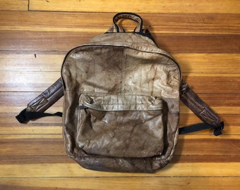 73401966272e Vintage Tannery West Distressed Brown Leather Backpack    Two-Pocket Travel Book  Bag    Made in India