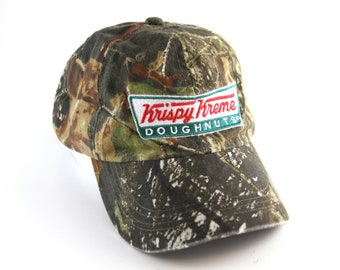 3a125a0564c Krispy Kreme Donuts Camo Dad Hat    Camouflage Donut Baseball Cap with  Adjustable Strapback