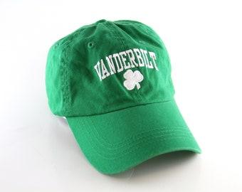 fd1f49ee05b42 Vanderbilt University Nashville Tennessee Green Shamrock Clover Dad Hat     Low Profile Baseball Cap with Adjustable Strapback