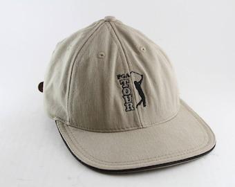Vintage PGA Tour Golf Dad Hat    Low Profile Khaki Golfing Baseball Cap  with Adjustable Strapaback    Professional Golf Association 55d48f8ddd22