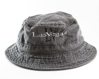 ae00ae022b9 Distressed Gray Las Vegas Bucket Hat    LV Roll Up Hat    Large-XL Boonie  Hat