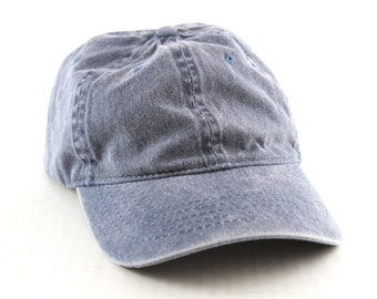 670f69cc91a1 Plain Faded Blue Dad Hat    Low Profile Baseball Cap with and Adjustable  Strapback    Size Small