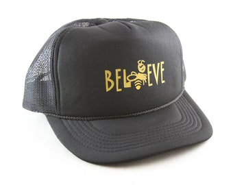 0af92842ed67b Believe Black Trucker Style Hat    Bumble Bee Adjustable Snapback Classic Baseball  Cap with Rope Detail    Mesh Back Hat
