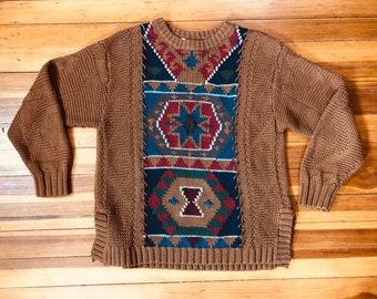 9cd99bcc55 Vintage Aztec Boho Southwestern Knit Sweater with Geometric Aztec Pattern     Size Women s Medium    Cotton Blend Sweater