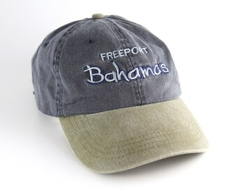4d786b59 Vintage Freeport Bahamas Two-Toned Dad Hat with Adjustable Strapback //  Embroidered Vacation Baseball Cap // Caribbean Island