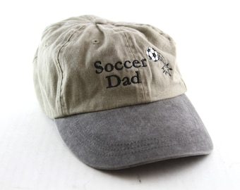 0a5fe21140247 Soccer Dad Embroidered Dad Hat    Two-Toned Low Profile Baseball Cap with  an Adjustable Strapback    Tan and Gray Hat