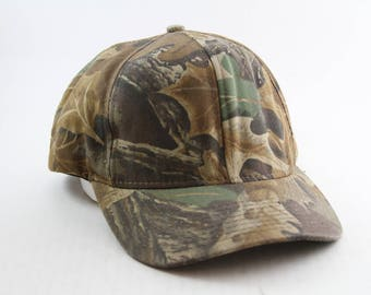 9ac8b14a757 Vintage Plain Camouflage Snapback Baseball Cap    Camo Hunting Hat    Made  in the USA