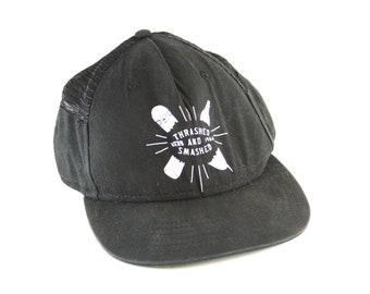 d01445c5c63 Vans Trashed and Smashed Skater Snapback Hat    Black Skateboarding Graphic  Baseball Cap