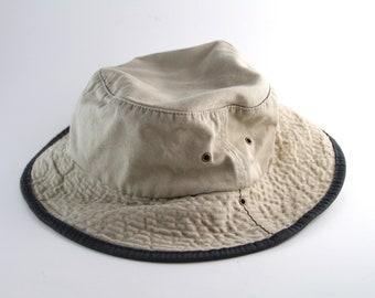 170faab2ba779 Vintage Plain Beige Khaki Bucket Hat with Blue Trim    Vacation Cap    Roll  Up Gilligan Hat    Boonie Cap