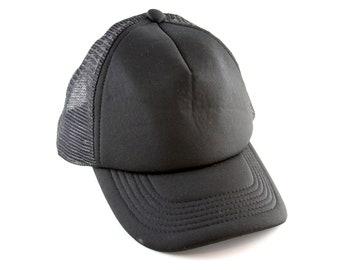 b3241993c17 Vintage Plain Black Trucker Style Hat    Adjustable Mesh Back Snapback  Baseball Cap
