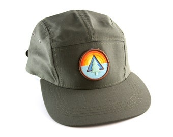 23d42692e6e Forest Camping Outdoors Patch Army Green Five Panel Baseball Cap    5-Panel  Hiking Hat with Adjustable Strapback