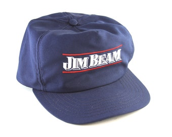 42c85b88 Vintage Jim Beam Blue and White Trucker Style Snapback Baseball Cap Hat //  Kentucky Straight Bourbon Whiskey // Made in USA