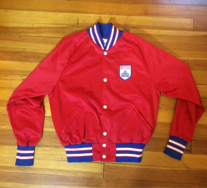 timeless design 90a9d 5ea19 Vintage 80's Pro Football Hall of Fame Track Jacket // NFL History Button  Up Red Jacket // Size Small