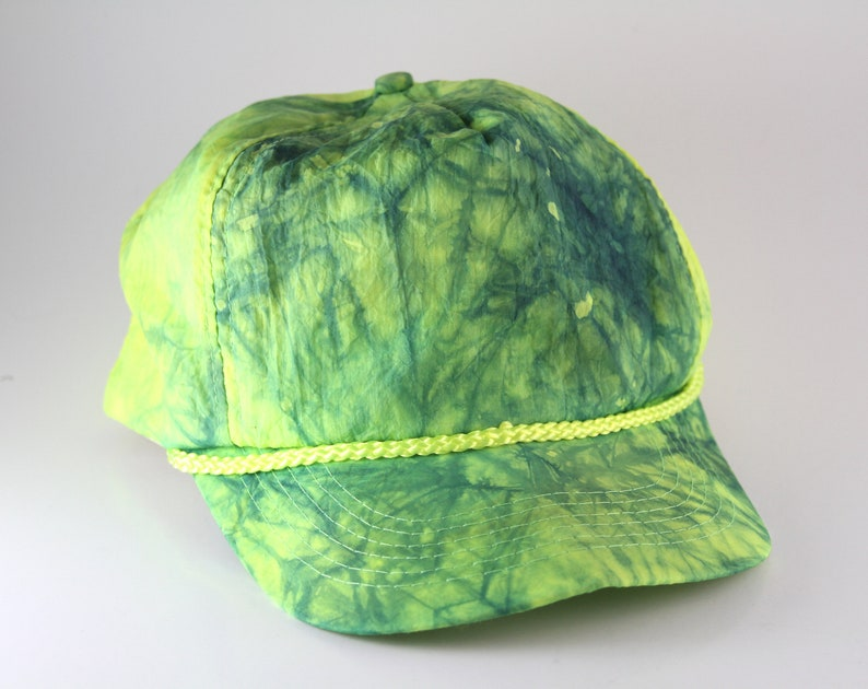 1b0b5e08579 Plain Green   Yellow Tie Dyed Trucker Hat with Rope Detail