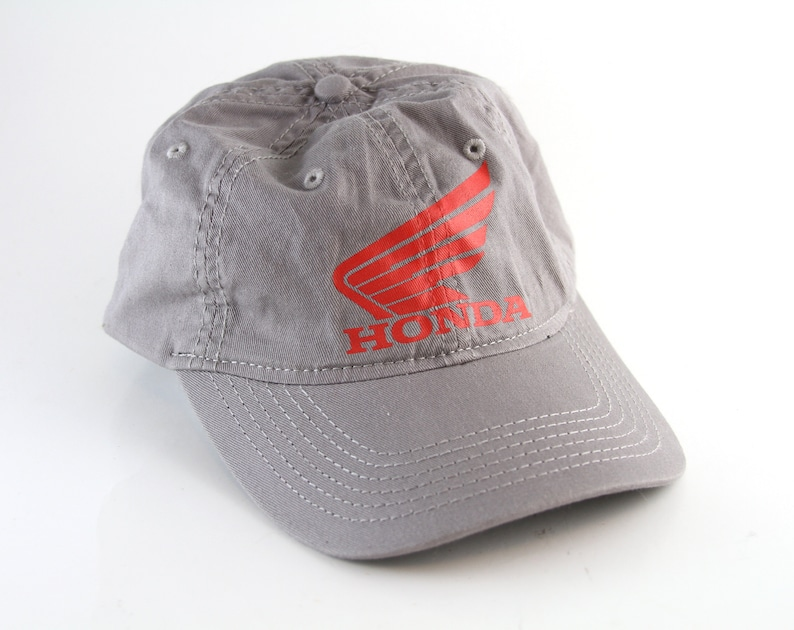 e5f5b48a2 Honda Gray and Red Baseball Cap with an Adjustable Strapback // Low Profile  Car Lover Dad Hat