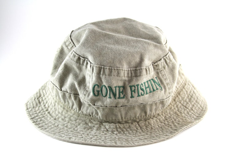 8a49b99a019 Vintage Gone Fishing Khaki Bucket Hat    Roll Up Boonie Hat