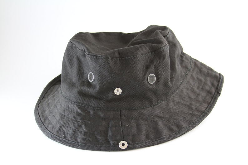1d6128e5b6d Plain Black Bucket Hat with Side Snaps    Vacation Cap    Roll