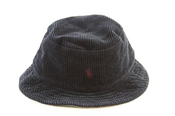 9413733c1d1 Vintage Polo by Ralph Lauren Blue Corduroy Bucket Hat    Navy Blue Roll Up  Hat