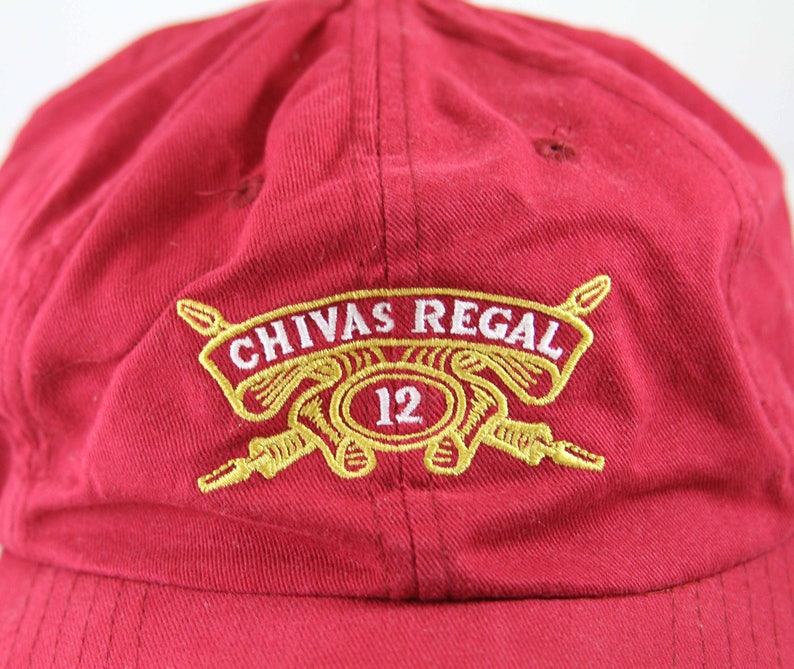 29ece99d3 Vintage Chivas Regal 12 Adjustable Baseball Cap // Blended Scotch Whisky  Dad Hat // Red Embroidered Whiskey Low Profile Cap
