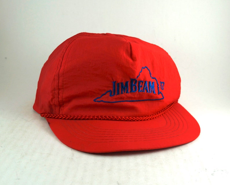 237b7db129d Vintage Jim Beam VA Red Snapback Hat    Nylon Baseball Cap