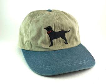 Black Labrador Lab Two Tone Baseball Cap Hat // Dog Dad Hat Size SMALL // Tan & Blue Cap // Dog Lover Hat w/ Strap // USA Made