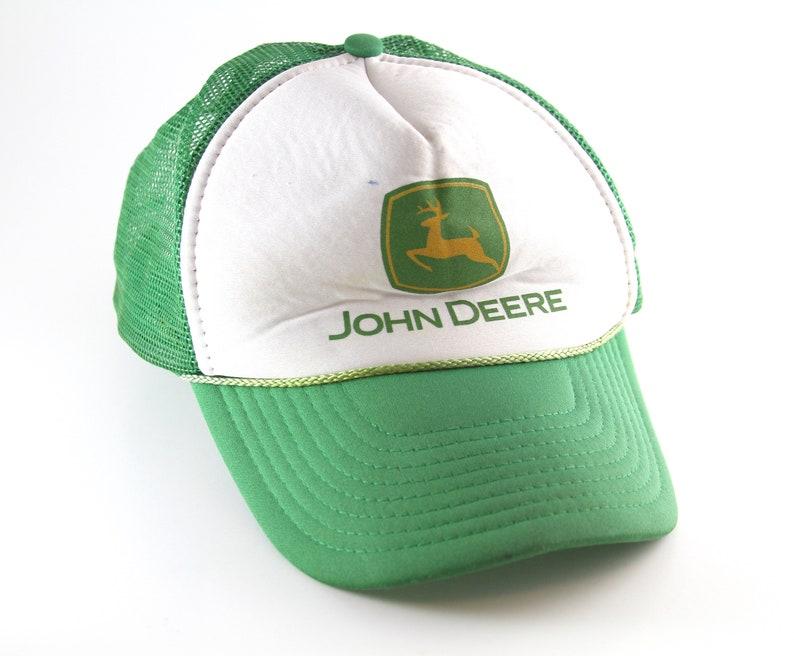 bfd0be064b38d Vintage John Deere Green and White Snapback Hat    Meshback