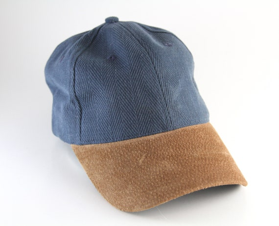 62eeb61cf Vintage Plain Two Toned Blue and Brown Dad Hat // Basic Baseball Cap with  Adjustable Strapback // Faux Suede Brim and Textured Cap