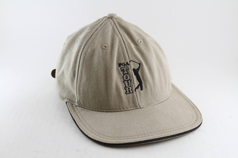 3b985780313 Vintage PGA Tour Golf Dad Hat    Low Profile Khaki Golfing