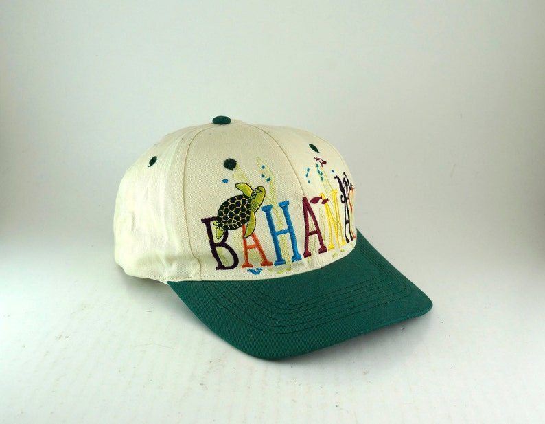 2c33dbe3 Vintage Bahamas Two Tone Dad Hat // Baseball Cap with Sea | Etsy
