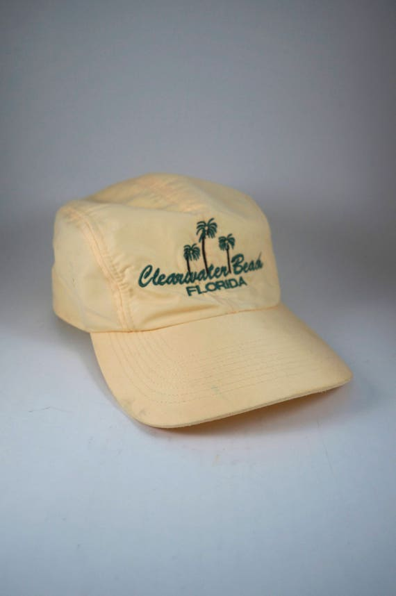 Vintage Clearwater Beach Florida Cap with Adjustable Strapback //  Embroidered Palm Tree Hat // 4 Panel Yellow Dad Hat Baseball Cap