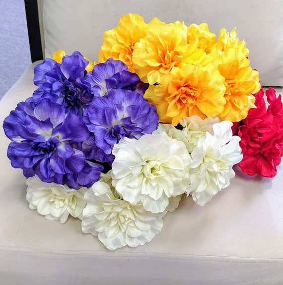 Artificial Flowers Flower Bunches Red Flowers Yellow Etsy