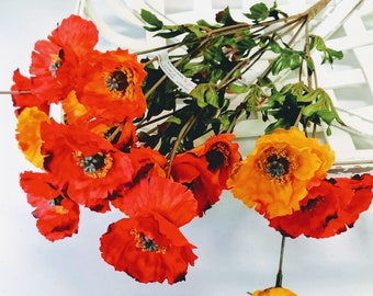 Poppies arrangement etsy select artificial poppy bush poppy flowers faux flowers yellow poppies red poppies high end flora premium flowers floral arrangement mightylinksfo