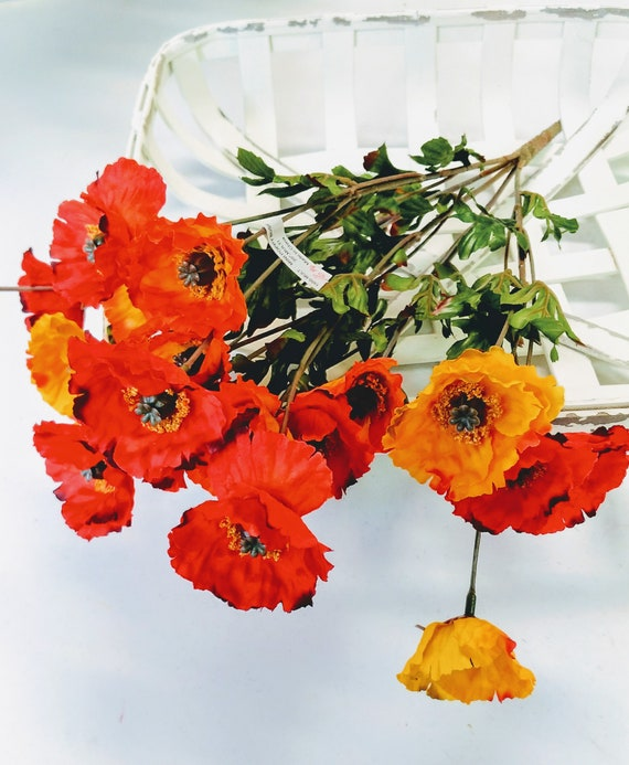 Select artificial poppy bush poppy flowers faux flowers etsy image 0 mightylinksfo