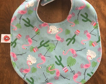 Bavette for baby bandana, bavana, bib cotton ratine gift birth shower the Mouton Roux Flemish pink blue cactus girl