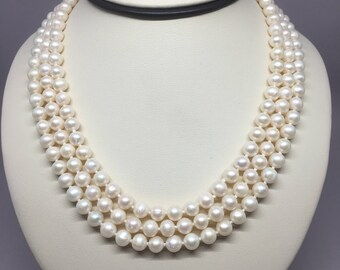27690ef03 Cultured Freshwater Three Strand White Bridal Pearl Necklace - 3 Row Jackie  O Pearl Necklace - Hand Strung Genuine Pearl Necklace