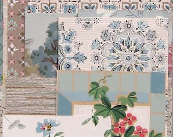 Blue Vintage Wallpaper Scrap Pack 16 Pieces for Collage Scrapbooking Papercrafts
