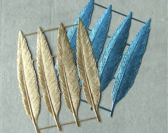 Sheet of German Dresden Giant Foiled Paper Feathers Gold or Blue (1 sheet of 4 pc)