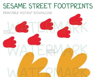 Sesame Street Printable Footprints Instant Download