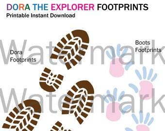 Dora the Explorer Printable Footprints Instant Download