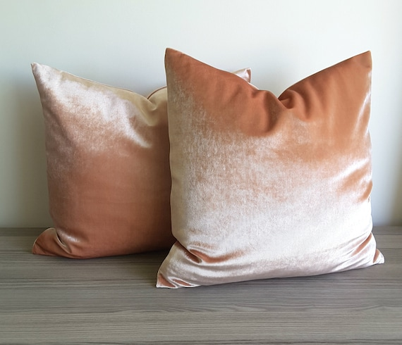 One Throw Pillow Cover Peach and Green