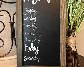 Weekly Menu Chalkboard,Menu Chalkboard,Kitchen Menu,Chalkboard Menu,Daily Planner,Home Decor,Meal Planning,Menu Template,Weekly Meal Planner