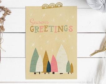 Retro Season's Greetings Pastel Christmas Trees Print