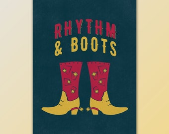 Rhythm & Boots Country Music Mini Print in Red