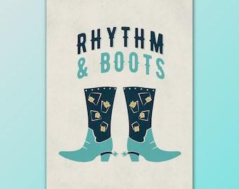 Retro Rhythm & Boots Wall Art