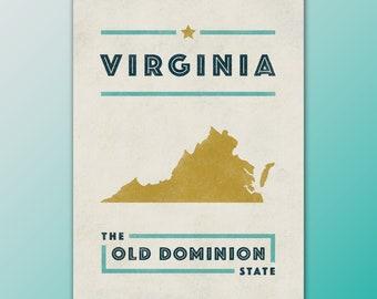 Virginia The Old Dominion State Hometown Pride Mini Art Print