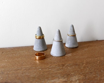 Concrete Ring Cone Set of 3  // Cement Ring Holder Set