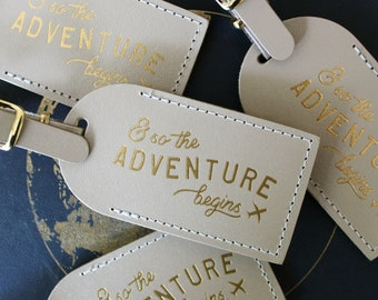 and so the adventure begins luggage tags wedding favors or bridesmaid gift bridal shower party bonded leather travel journey wanderlust
