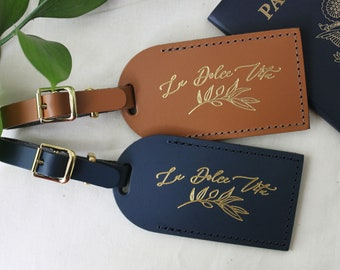 olive branch italy luggage tag wedding favors bridesmaid gift bachelorette party bridal shower favors bonded leather italian wedding